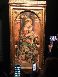 Carlo Crivelli, Madonna and Child, 1482, tempera on panel, Inv. 40297. Coming from the church of San Francesco in Force (Ascoli Piceno). On view in the Room XVII, Vatican Museums, Pinacoteca Vaticana