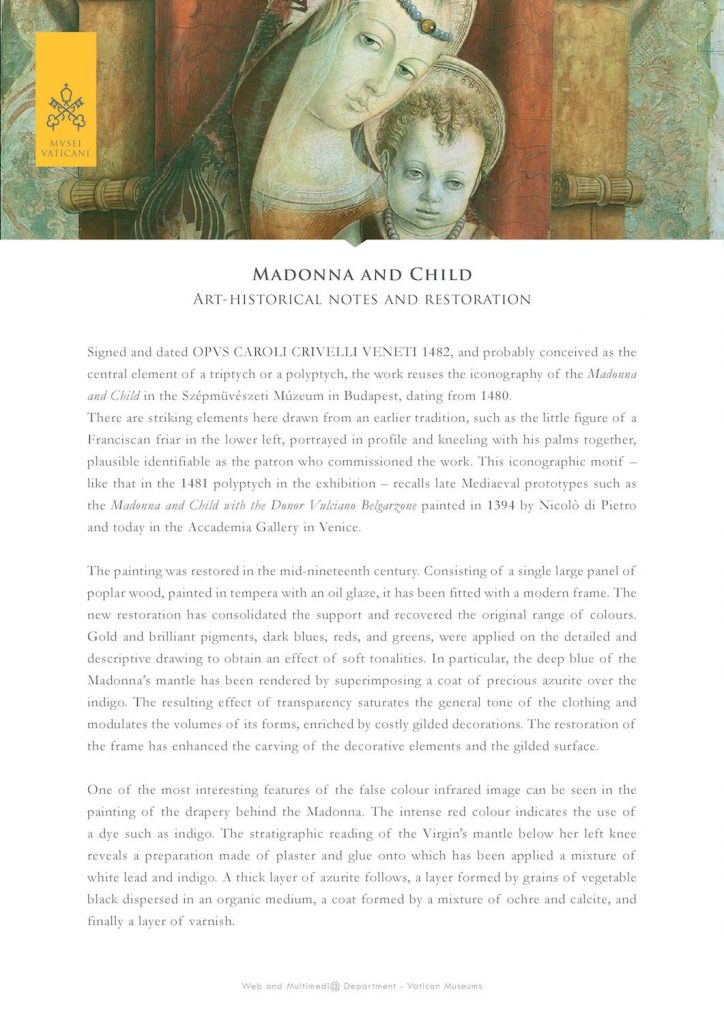Madonna and Child: art-historical notes and restoration by the Vatican Museums