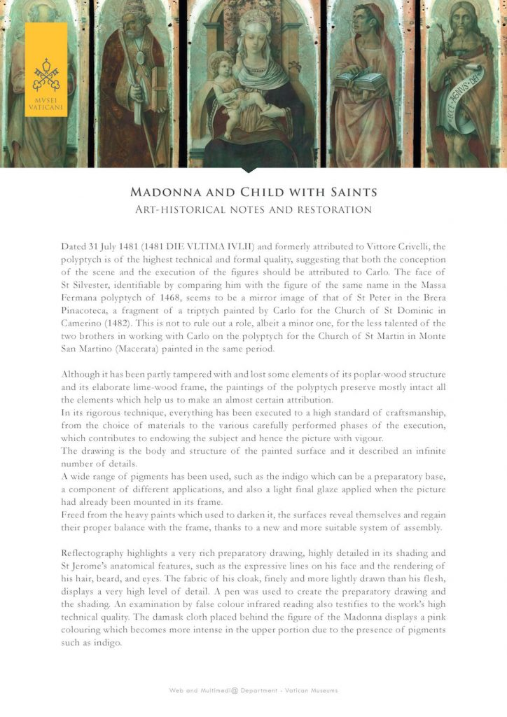 Madonna and Child with Saints: art-historical notes and restoration by the Vatican Museums
