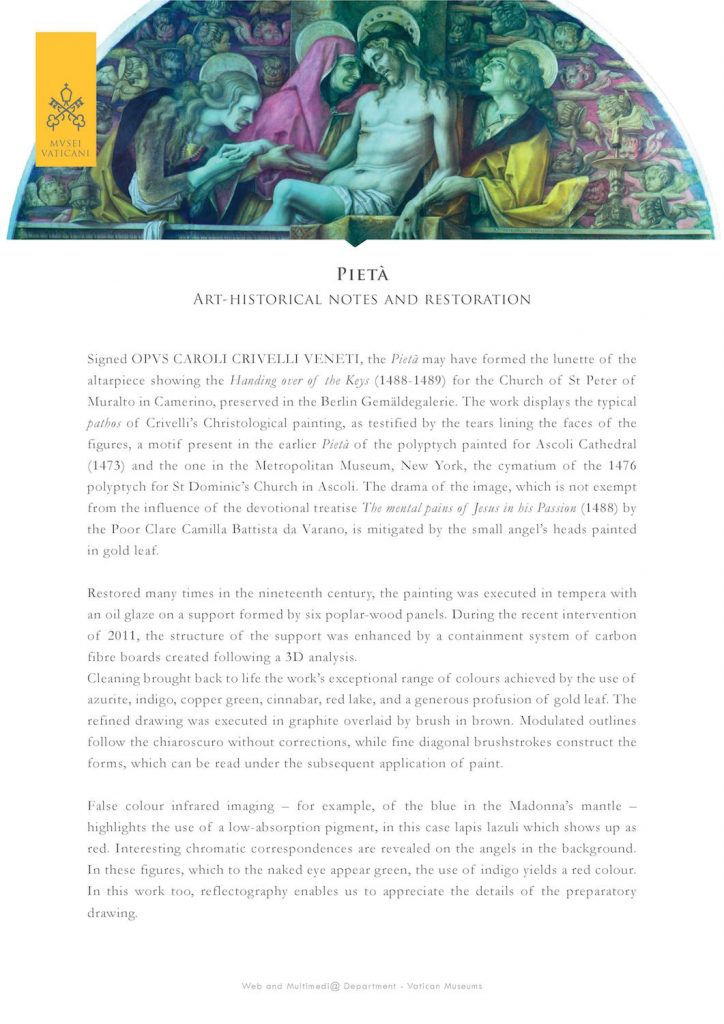 Pietà: art-historical notes and restoration by the Vatican Museums