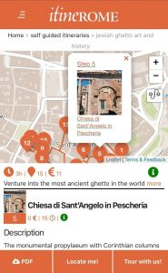 Screenshot of Jewish Ghetto self-guided itinerary on ItineROME portal (mobile version)