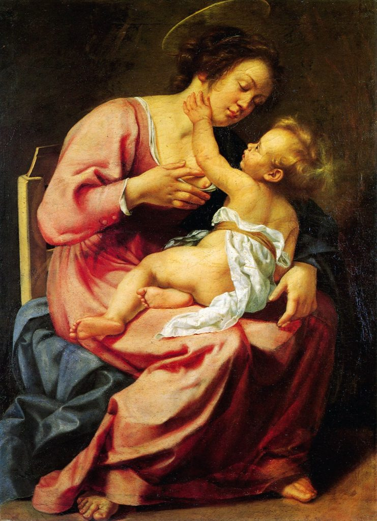 "Artemisia Gentileschi, Madonna and Child, ca. 1610-1613, oil on canvas (116.5 × 86.5) cm, Room IV, also called ""Studiolo grande"" (big studiolo), Rome, Palazzo Spada, Galleria"