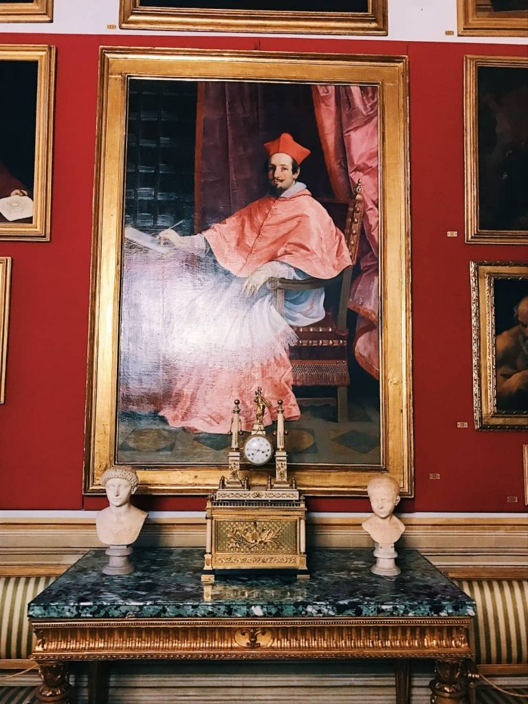 "Guido Reni, Portrait of cardinal Bernardino Spada, Room I, also called ""Stanza dei Papi"" (Popes room) or ""Stanza del soffitto azzurro"" (Azure ceiling room), Rome, Palazzo Spada, Galleria"