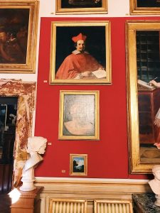 "Guercino, Portrait of cardinal Bernardino Spada, Room I, also called ""Stanza dei Papi"" (Popes room) or ""Stanza del soffitto azzurro"" (Azure ceiling room), Rome, Palazzo Spada, Galleria"