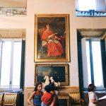 """Sebastiano Ceccarini, Portrait of cardinal Fabrizio Spada, Room I, also called """"Stanza dei Papi"""" (Popes room) or """"Stanza del soffitto azzurro"""" (Azure ceiling room), Rome, Palazzo Spada, Galleria"""