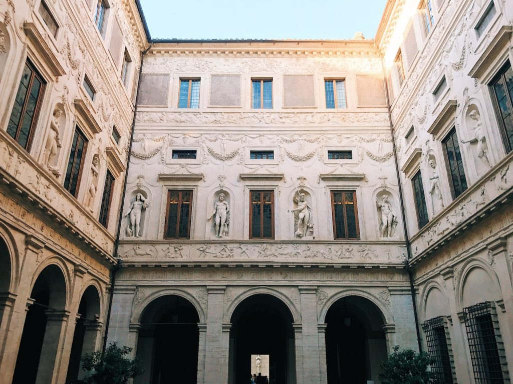 Palazzo Spada porticoed courtyard, entrance façade, stucco decorations by Giulio Mazzoni and others, ca. 1556-1560, Rome