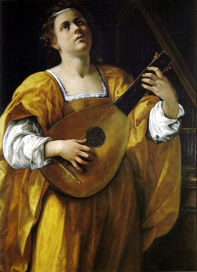 "Artemisia Gentileschi, Saint Cecilia, ca. 1620, oil on canvas (108 × 78.5) cm, Room IV, also called ""Studiolo grande"" (big studiolo), Rome, Palazzo Spada, Galleria"