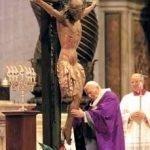 """Saint pope Giovanni Paolo II adoring the Crucifix from the chiesa di San Marcello al Corso, Rome, basilica di San Pietro in Vaticano, 12 March 2000, celebration of the """"Day of Forgiveness"""" (also called """"Day of Pardon"""", in Italian: """"Giornata del Perdono"""")"""