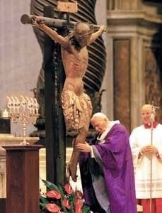 "Saint pope Giovanni Paolo II adoring the Crucifix from the chiesa di San Marcello al Corso, Rome, basilica di San Pietro in Vaticano, 12 March 2000, celebration of the ""Day of Forgiveness"" (also called ""Day of Pardon"", in Italian: ""Giornata del Perdono"")"