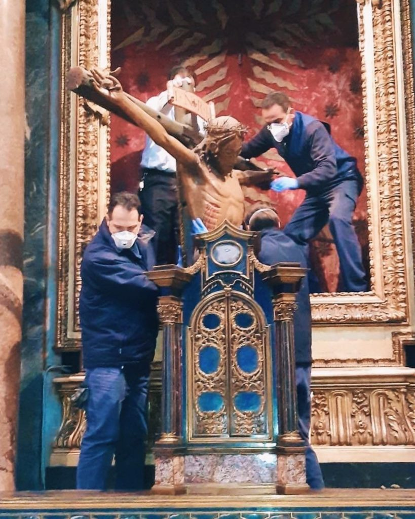 Moving of the Crucifix to the Vatican, Rome, chiesa di San Marcello al Corso, 26 March 2020