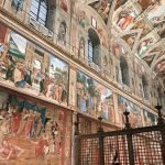 Southern wall of the Sistine Chapel embellished with Raffaello's tapestries to commemorate the Anno Sanzio, Vatican City, Sistine Chapel, 17 - 23 February 2020