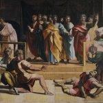 Raffaello Sanzio, Death of Ananias, 1515, tempera on paper on canvas (385 x 440) cm, London, Victoria and Albert Museum