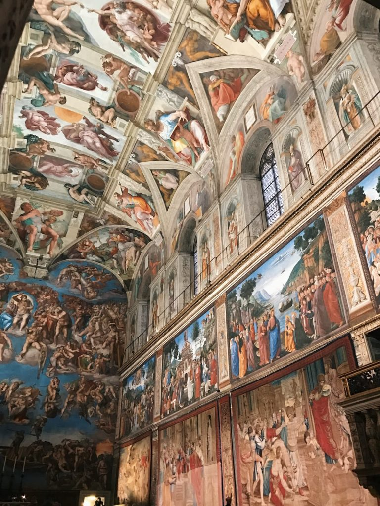 Northern wall of the Sistine Chapel embellished with Raffaello's tapestries to commemorate the Anno Sanzio, Vatican City, Sistine Chapel, 17 - 23 February 2020