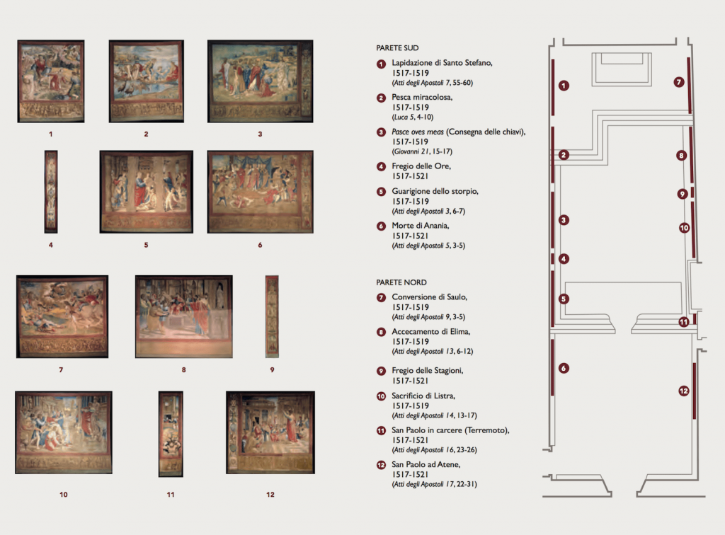 Display map of Raffaello's tapestries set-up at the Sistine Chapel to commemorate the Anno Sanzio, Vatican City, Sistine Chapel, 17 - 23 February 2020