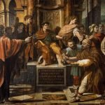 Raffaello Sanzio, Saint Paul before the Proconsul, 1515, tempera on paper, mounted on canvas (385 cm x 445) cm, London, Victoria and Albert Museum