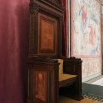 Pope throne on the occasion of Raffaello's tapestries set-up at the Sistine Chapel to commemorate the Anno Sanzio, Vatican City, 17 - 23 February 2020