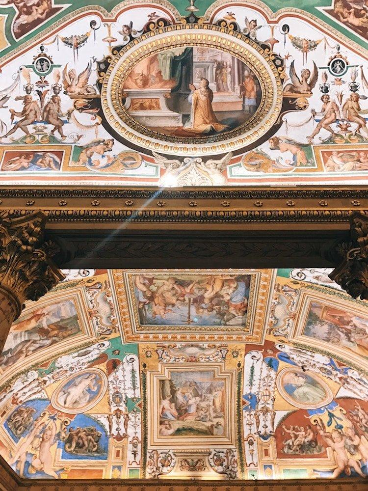 Mural decoration on the vault of the Camera dell'Alcova (Alcova Room) at Galleria Corsini, Rome, Galleria Nazionale d'Arte Antica in Palazzo Corsini