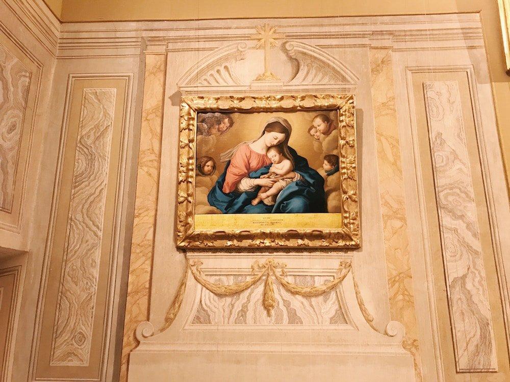 Giovanni Battista Salvi, called il Sassoferrato, Madonna con Bambino (Virgin and Child), on the small chapel wall at Gabinetto Verde (Green Cabinet), of Galleria Corsini, Rome, Galleria Nazionale d'Arte Antica in Palazzo Corsini