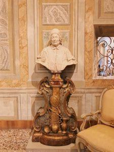 Pietro Bracci, Portrait of pope Clemente XII Corsini, marble, at Gabinetto Verde (Green Cabinet), of Galleria Corsini, Rome, Galleria Nazionale d'Arte Antica in Palazzo Corsini