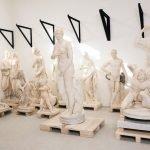 Group of restored sculptures: in the foreground a Caryatid (Inv. 485), on the background a statue of billygoat at rest (Inv. 441), Collezione Torlonia, via della Lungara, ©FondazioneTorlonia, Ph. Lorenzo De Masi