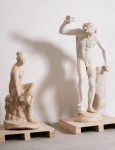 Statues of Satyr (Inv. 021) and Nymph (Inv. 162), replica of the group representing the invitation to dance, Collezione Torlonia, via della Lungara, ©FondazioneTorlonia, Ph. Lorenzo De Masi