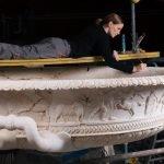 Big cup sculpted with labours of Hercules (Inv. 383) during the restoration works, Elena Cagnoni, Collezione Torlonia, via della Lungara, ©FondazioneTorlonia, Ph. Lorenzo De Masi